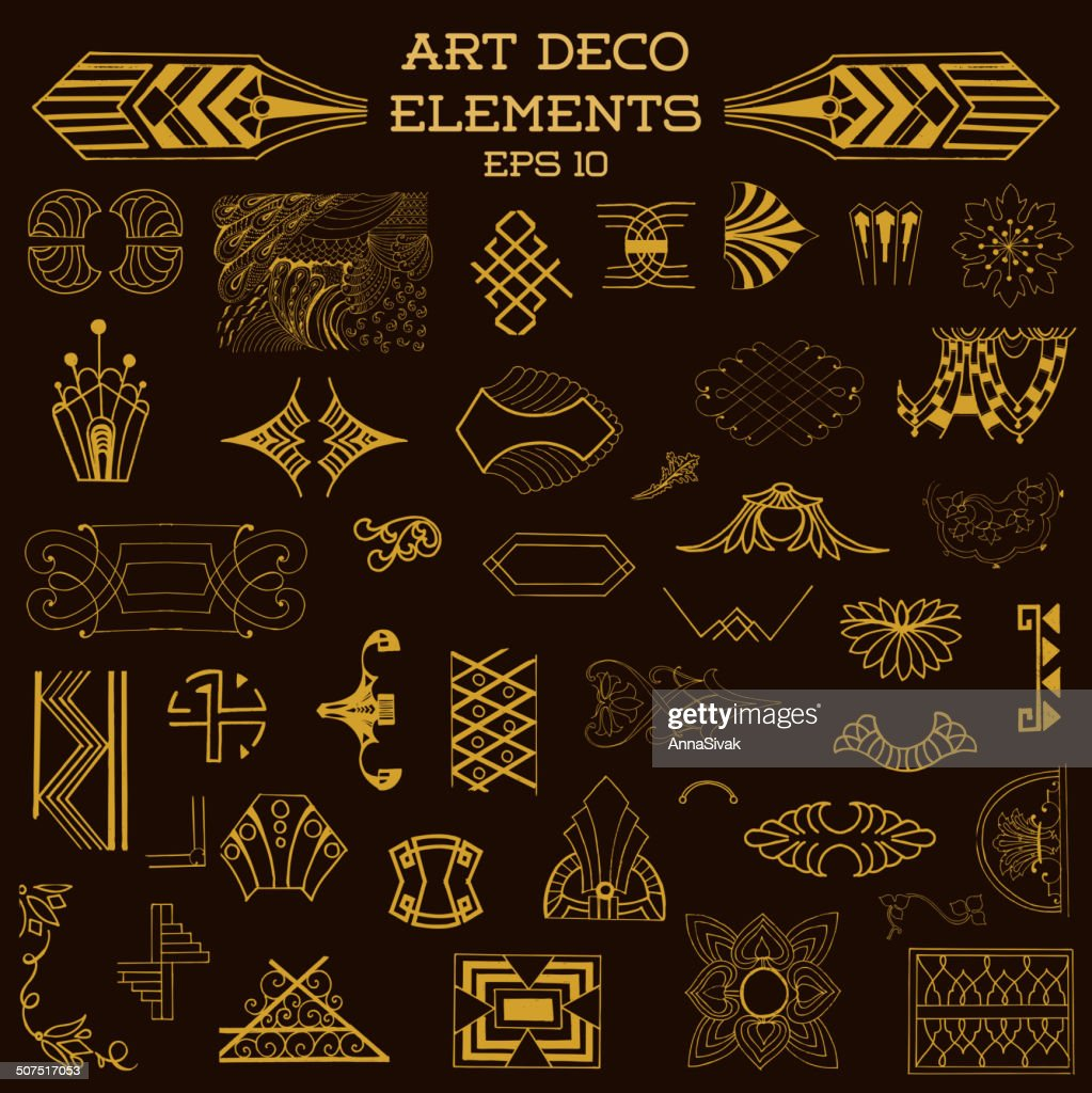 Art Deco Vintage Frames and Design Elements - hand drawn