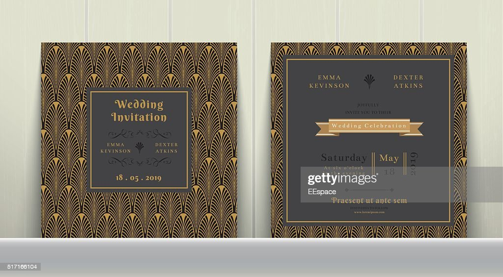 Art Deco Wedding Invitation Card  in Gold and Dark Gray