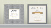 Art Deco Wedding Invitation Card in Gold and Gray