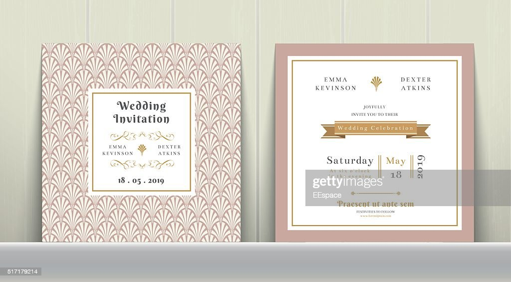 Art Deco Wedding Invitation Card in Gold and Pink