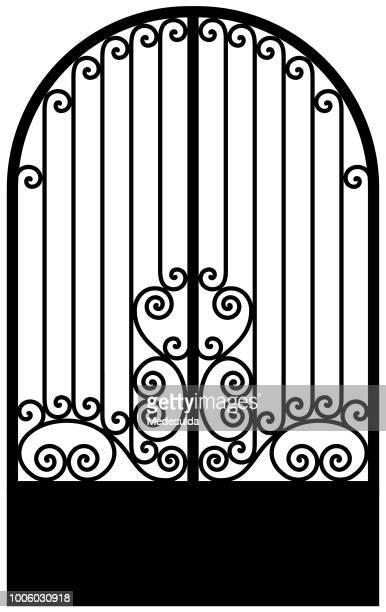 art deco wrought iron door - fossil stock illustrations
