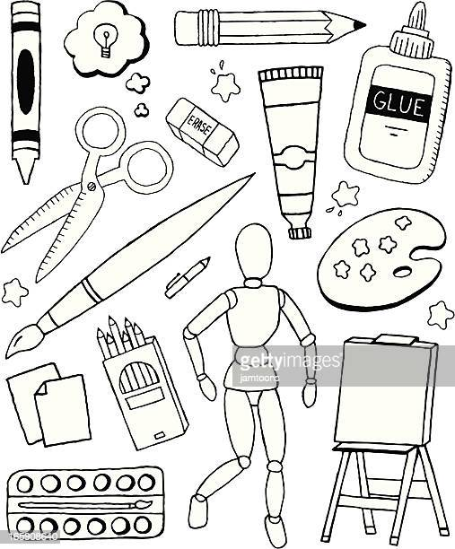 art doodles - ballpoint pen stock illustrations, clip art, cartoons, & icons
