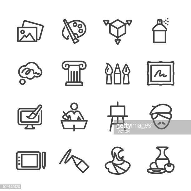 art education icons - line series - art stock illustrations