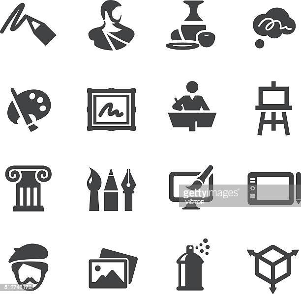 art education icons set - acme series - art and craft stock illustrations