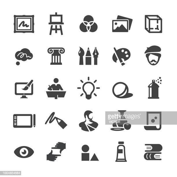 art education icons set - smart series - painted image stock illustrations