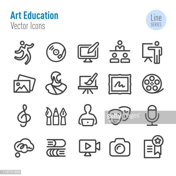 illustrazioni stock, clip art, cartoni animati e icone di tendenza di art education icons - vector line series - attrice