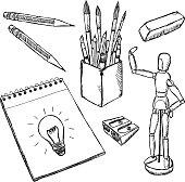 Art equipment doodles