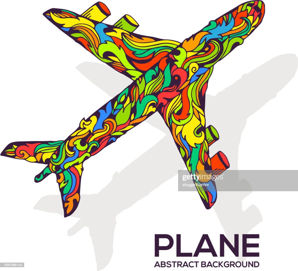 Art flying airplane with abstract colorful ornaments background