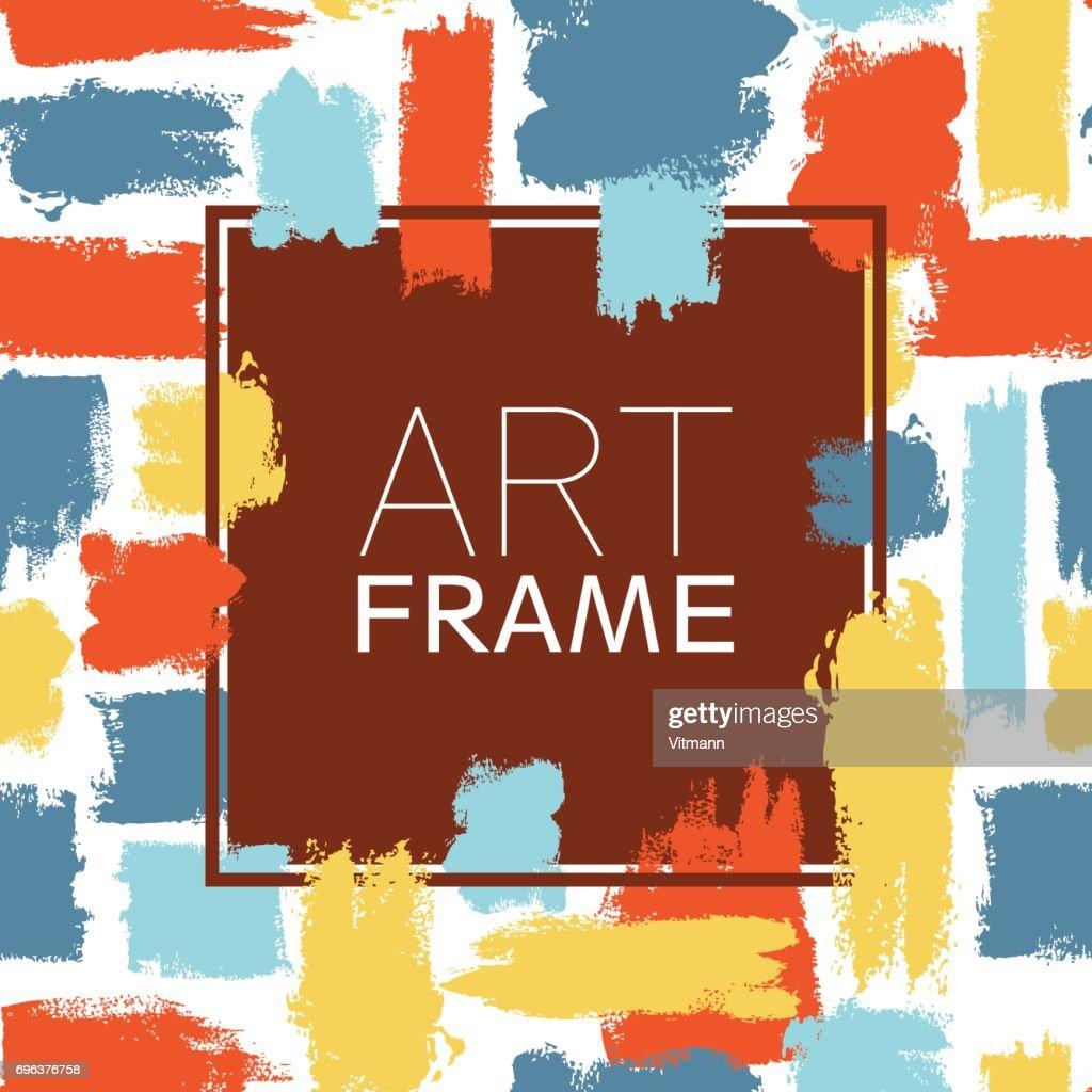 Kunst Rahmen Platz Blau Gelb Rot Elemente Pinselstriche Für Den ...