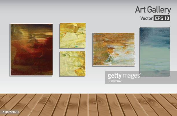 Art gallery or museum walls and wooden floor abstract paintings