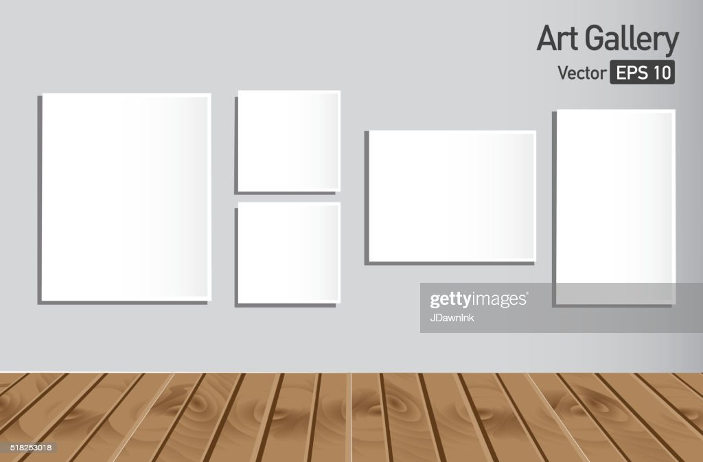 art gallery or museum walls with blank canvas vector art getty images
