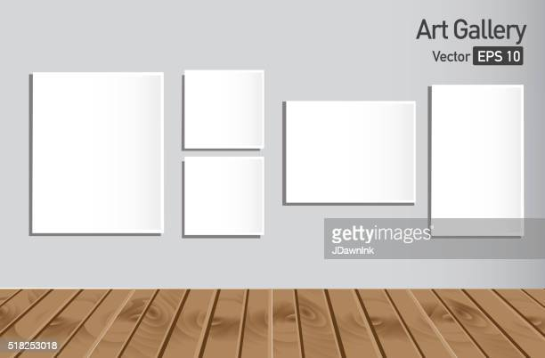 Art gallery or museum walls with blank canvas