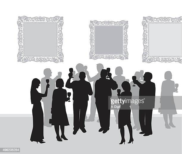 art gallery reception - party social event stock illustrations