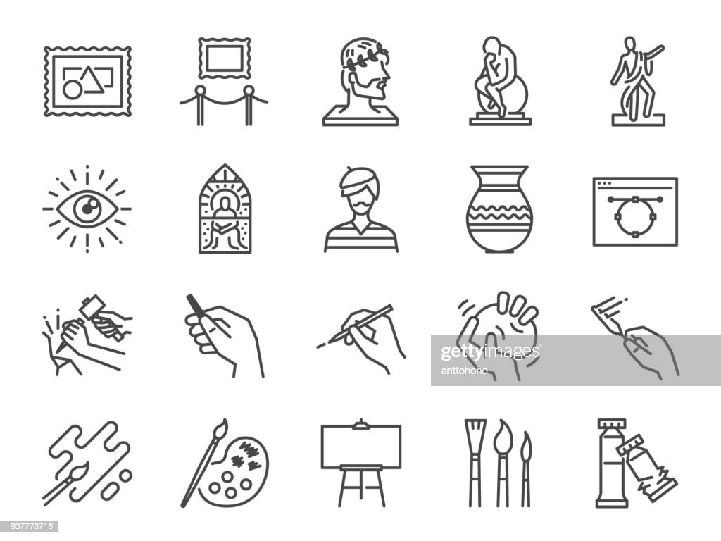 Art icon set. Included the icons as artist, color, paint, sculpture, statue, image, old master, artistic and more.
