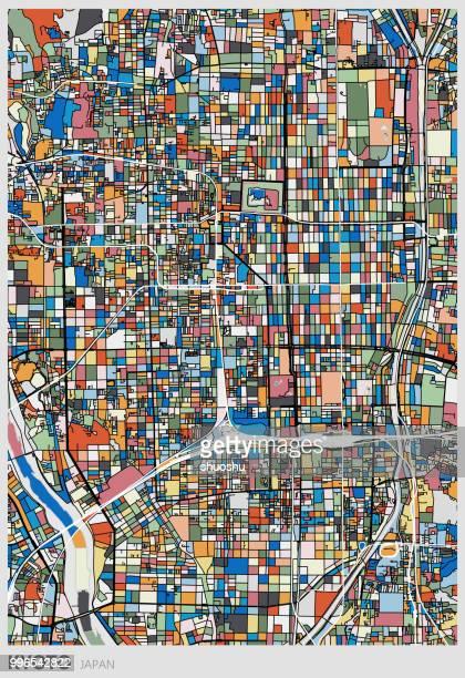 アート イラスト背景、カラフルな京都市内地図 - 京都市点のイラスト素材/クリップアート素材/マンガ素材/アイコン素材