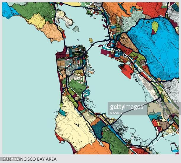 stockillustraties, clipart, cartoons en iconen met kunst illustratie achtergrond, san francisco bay gebied kaart - birthplace of silicon valley