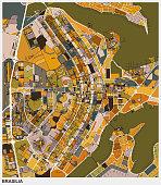 art illustration map of Brasilia