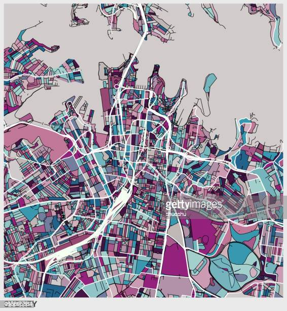 art illustration map of Sydney city