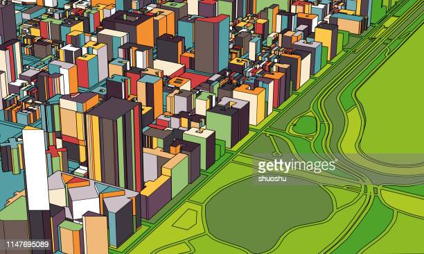 art illustration map,3D Manhattan structure,near Central Park,New York,USA