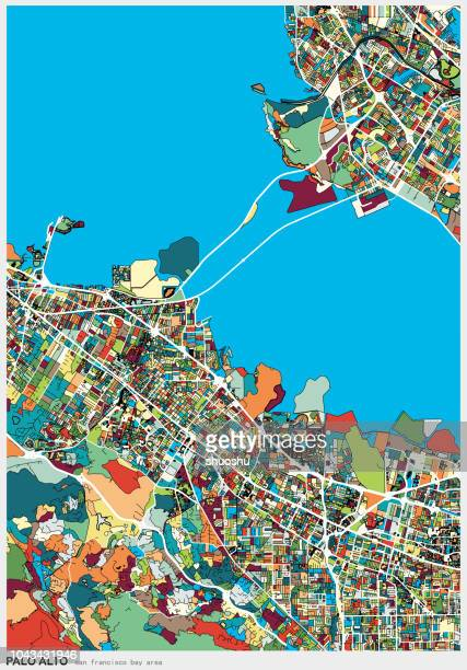art illustration map,palo alto city of san francisco bay area - santa clara county california stock illustrations