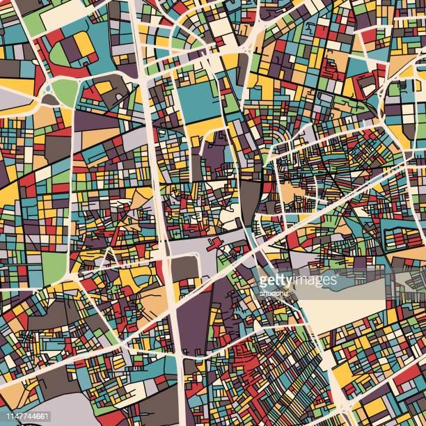 ilustrações, clipart, desenhos animados e ícones de mapa da ilustração da arte, cidade de riyadh, perto do parque de salam, arábia saudita - riyadh