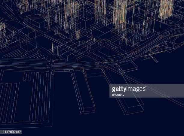 art illustration map,san francisco 3d city structure,near north beach coastline,usa - san francisco california stock illustrations