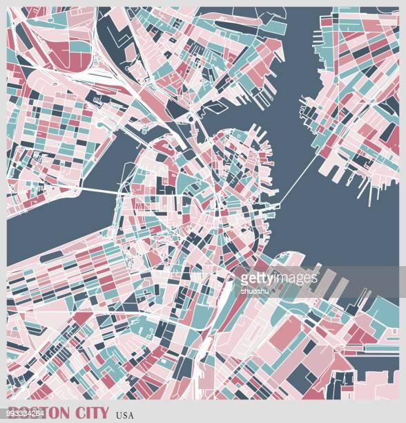 art illustration of boston city map - boston massachusetts stock illustrations