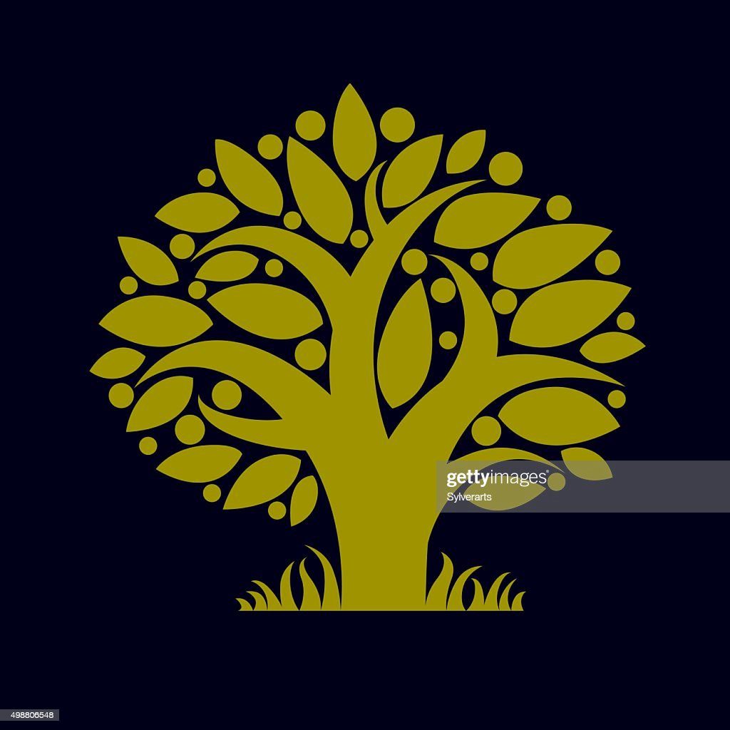 Art illustration of green spring tree, stylized ecology symbol