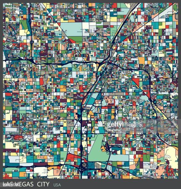 art illustration of las vegas city map - nevada stock illustrations