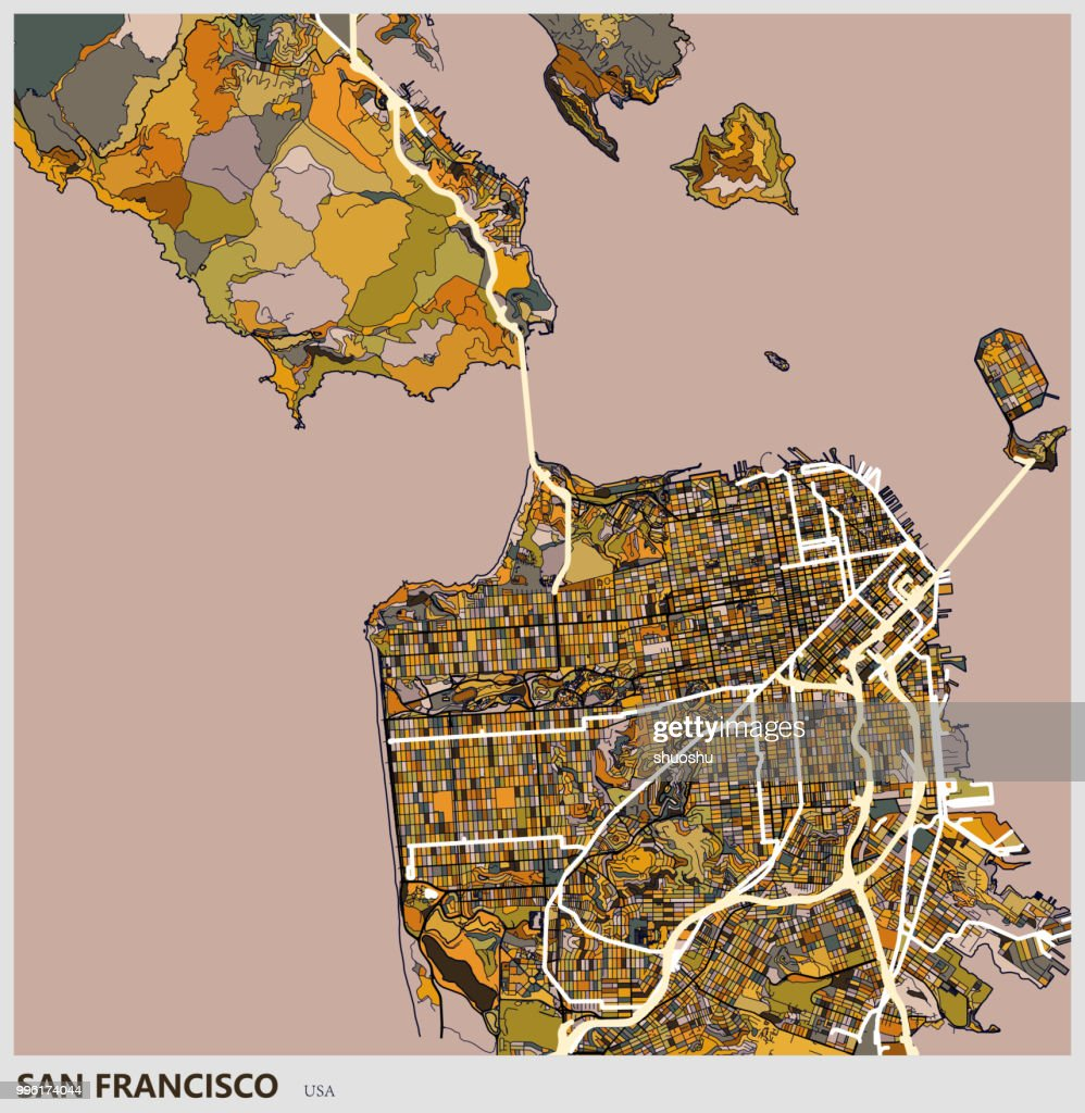 Art Illustration Of San Francisco City Map Vector Art Getty Images