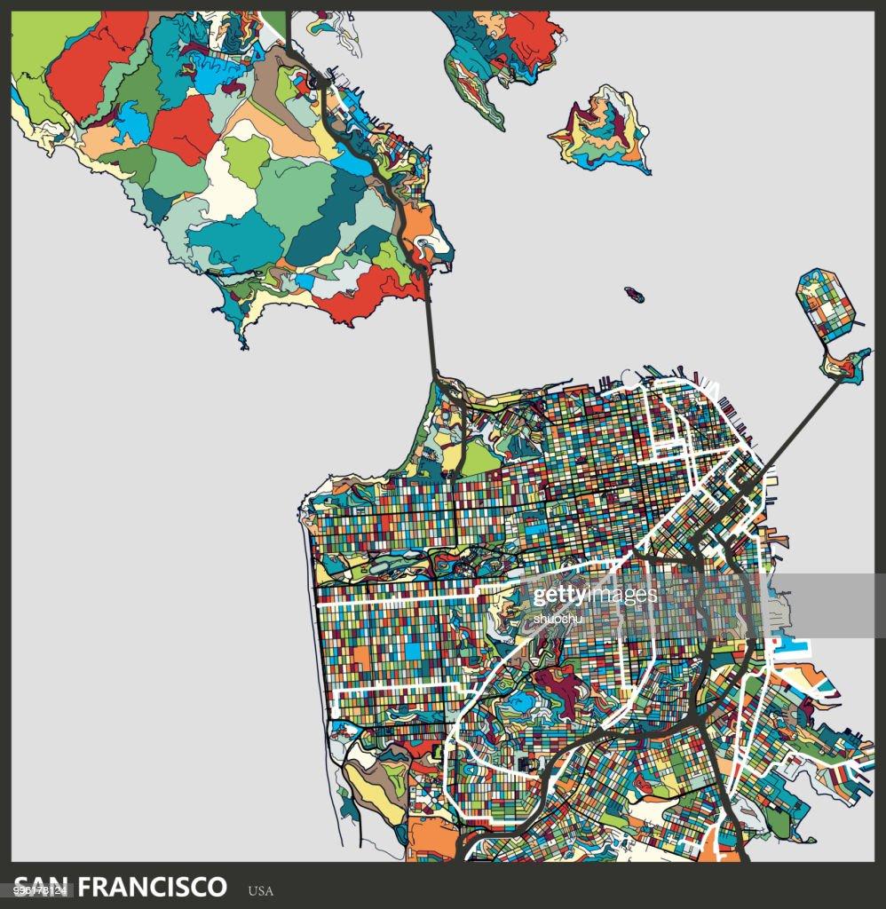 Kunstabbildung Von San Franciscostadtplan Stock-Illustration ...