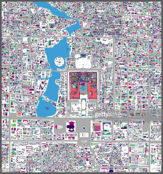 art illustration style map of beijing