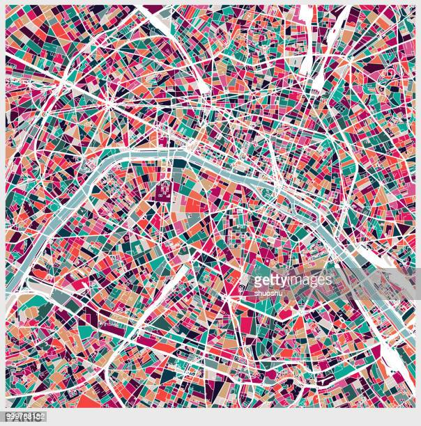 illustrations, cliparts, dessins animés et icônes de art illustration style carte de ville de paris - culture française