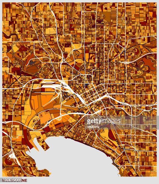 art illustration style melbourne city map - melbourne stock illustrations