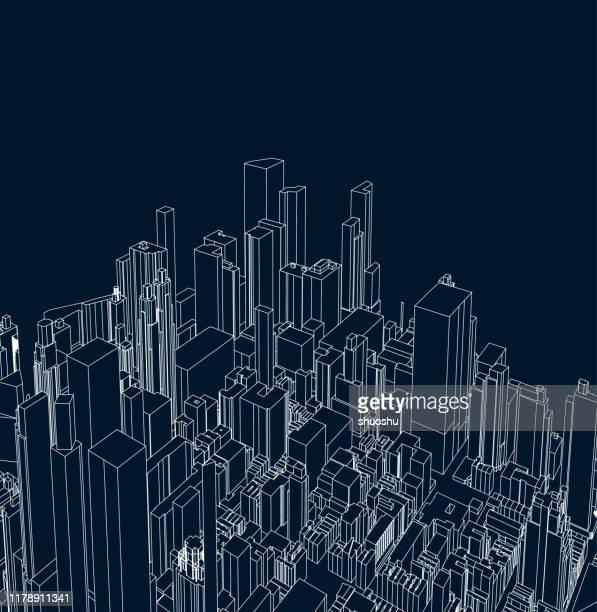illustrazioni stock, clip art, cartoni animati e icone di tendenza di art line struttura stile architettura città poster sfondo - paesaggio urbano