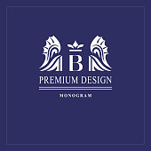 Art logo design. Capital letter B. Elegant emblem with crown, dragon wings. Beautiful creative monogram. Graceful sign for Royalty, business card, Boutique, Hotel, Heraldic. Vector illustration