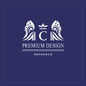 Art logo design. Capital letter C. Elegant emblem with crown, dragon wings. Beautiful creative monogram. Graceful sign for Royalty, business card, Boutique, Hotel, Heraldic. Vector illustration