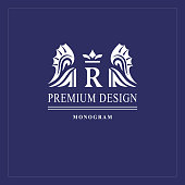 Art logo design. Capital letter R. Elegant emblem with crown, dragon wings. Beautiful creative monogram. Graceful sign for Royalty, business card, Boutique, Hotel, Heraldic. Vector illustration