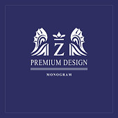 Art logo design. Capital letter Z. Elegant emblem with crown, dragon wings. Beautiful creative monogram. Graceful sign for Royalty, business card, Boutique, Hotel, Heraldic. Vector illustration
