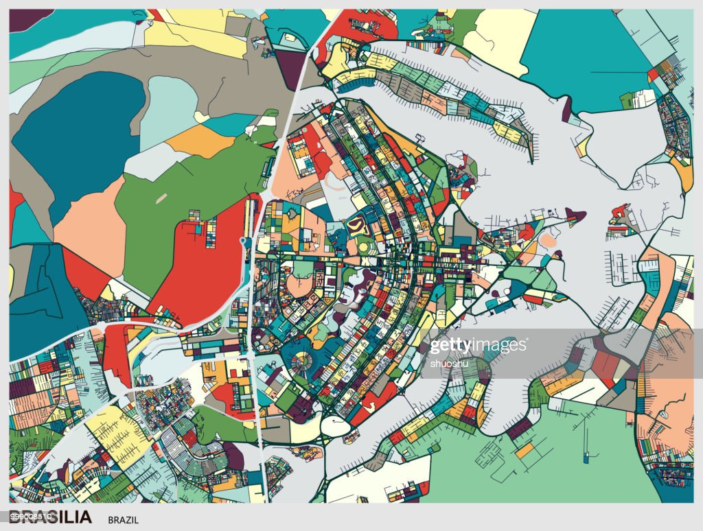 Art Map Of Brasilia City High Res Vector Graphic Getty Images