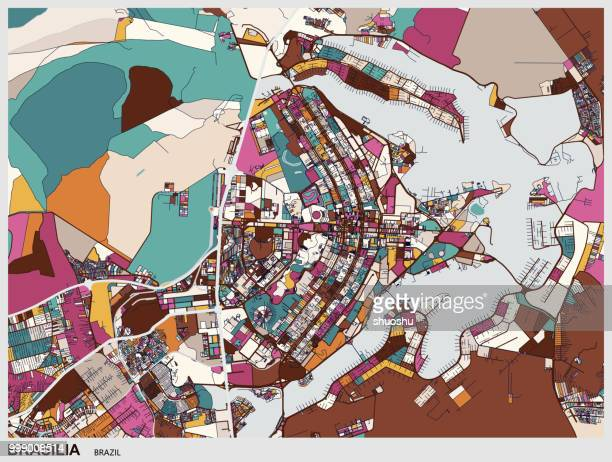 art map of brasilia city - distrito federal brasilia stock illustrations