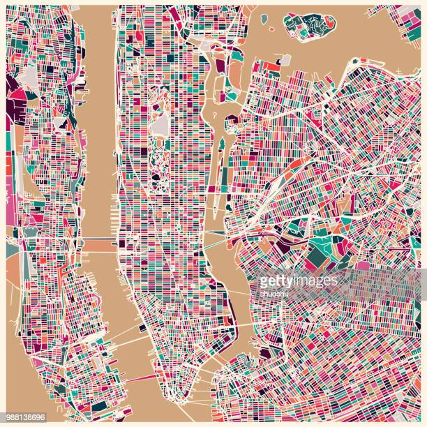art map of new york city,illustration background - physical geography stock illustrations, clip art, cartoons, & icons