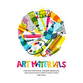 Art materials for craft design and creativity. Vector isolated illustration in circle shape. Banner, poster background