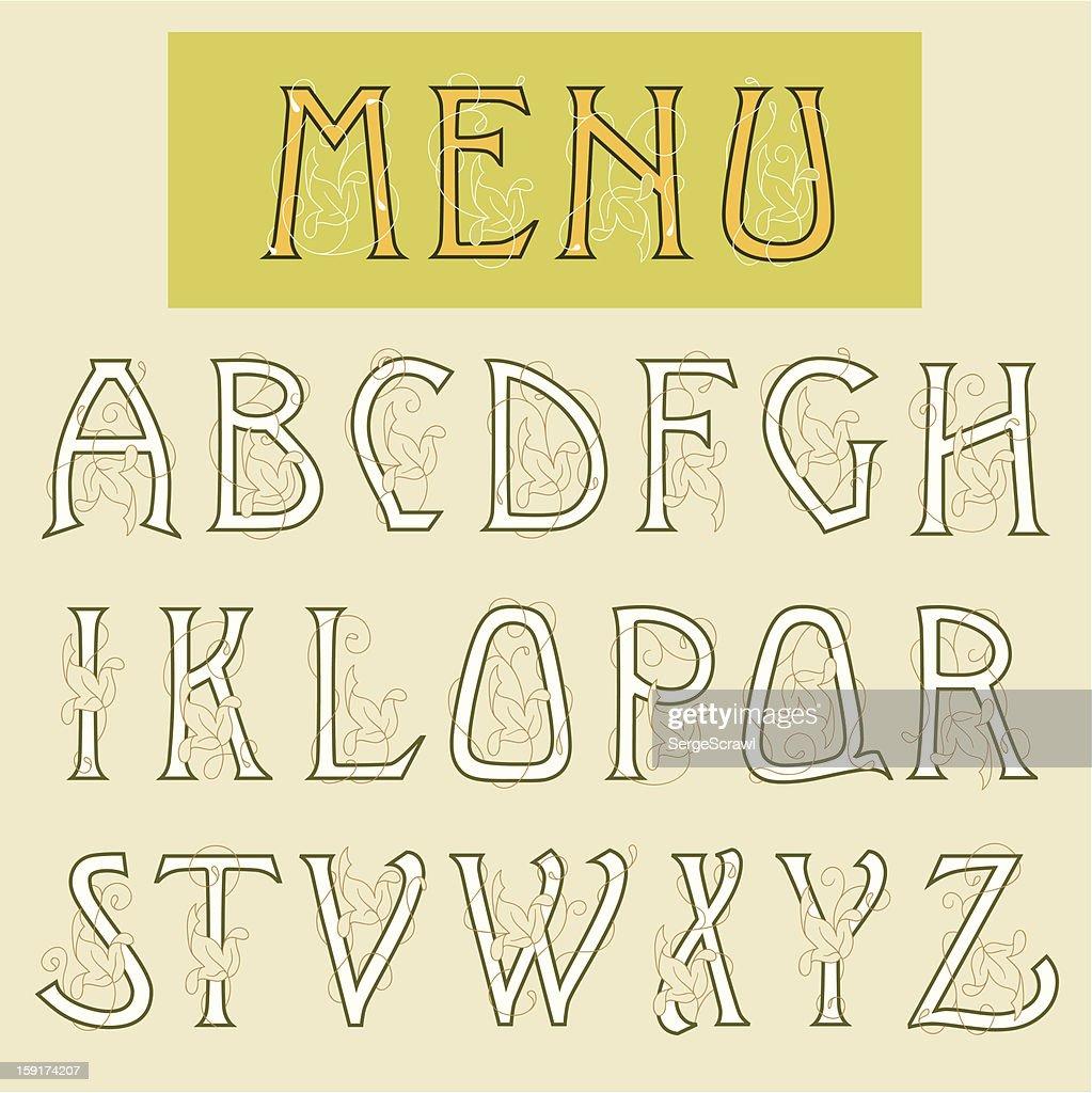 Art Nouveau alphabet