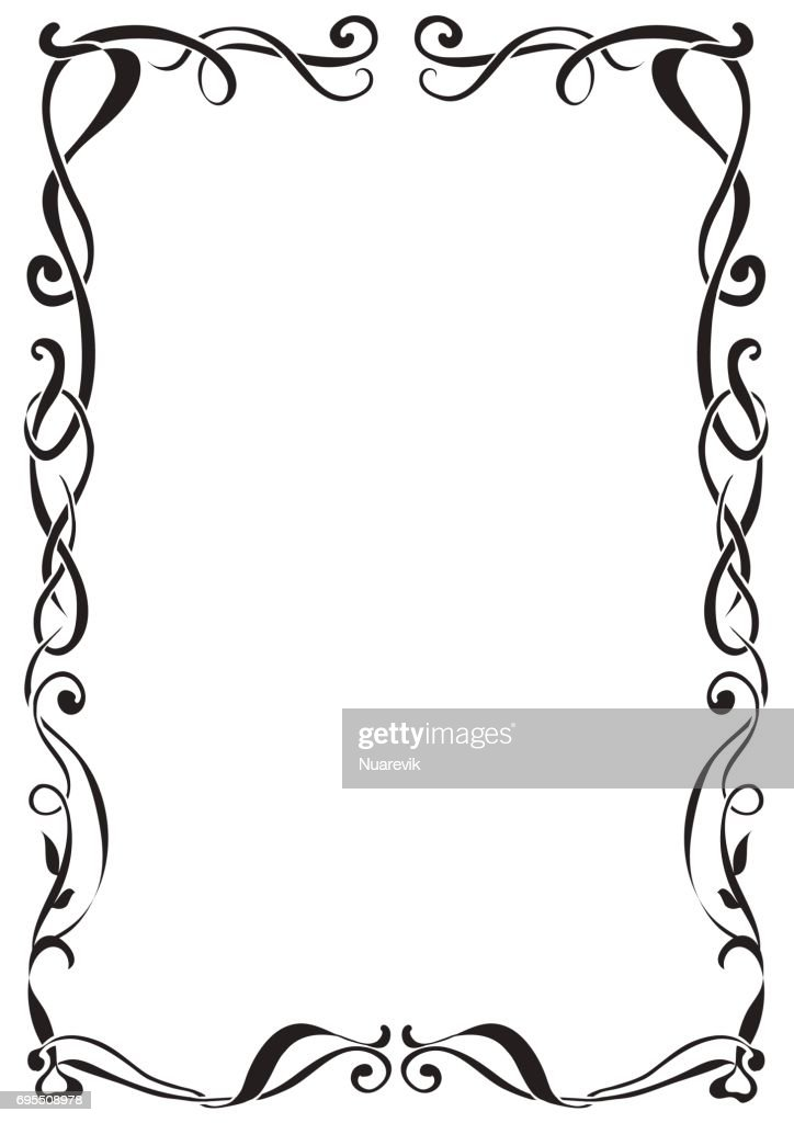 Art Nouveau decorative monochrome A4 format frame with text place