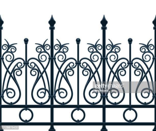 art nouveau fence - metal industry stock illustrations