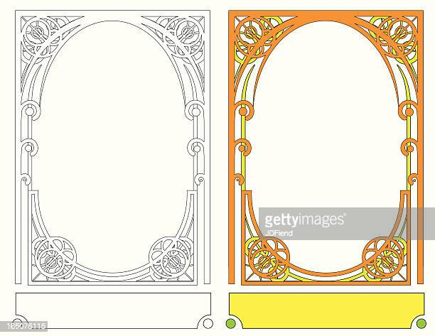 art nouveau frame iii - art nouveau stock illustrations, clip art, cartoons, & icons