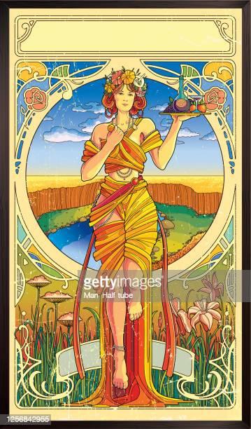 art nouveau poster. modern style illustration - alphonse mucha stock illustrations