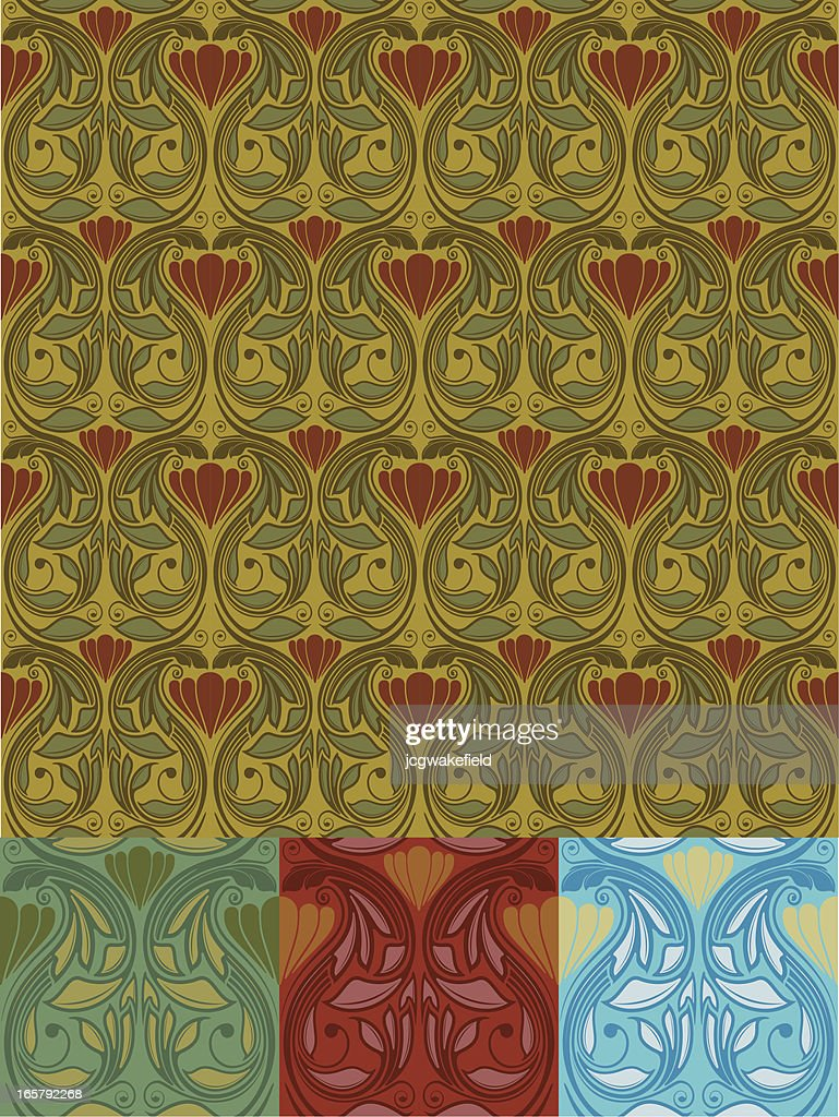 Art Nouveau Wallpaper Vector Art | Getty Images