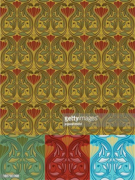 art nouveau wallpaper - art nouveau stock illustrations, clip art, cartoons, & icons